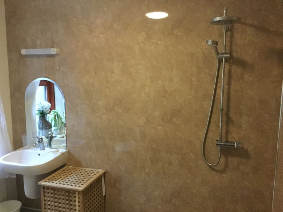 Large wet room, with power shower, wheelchair accessible.