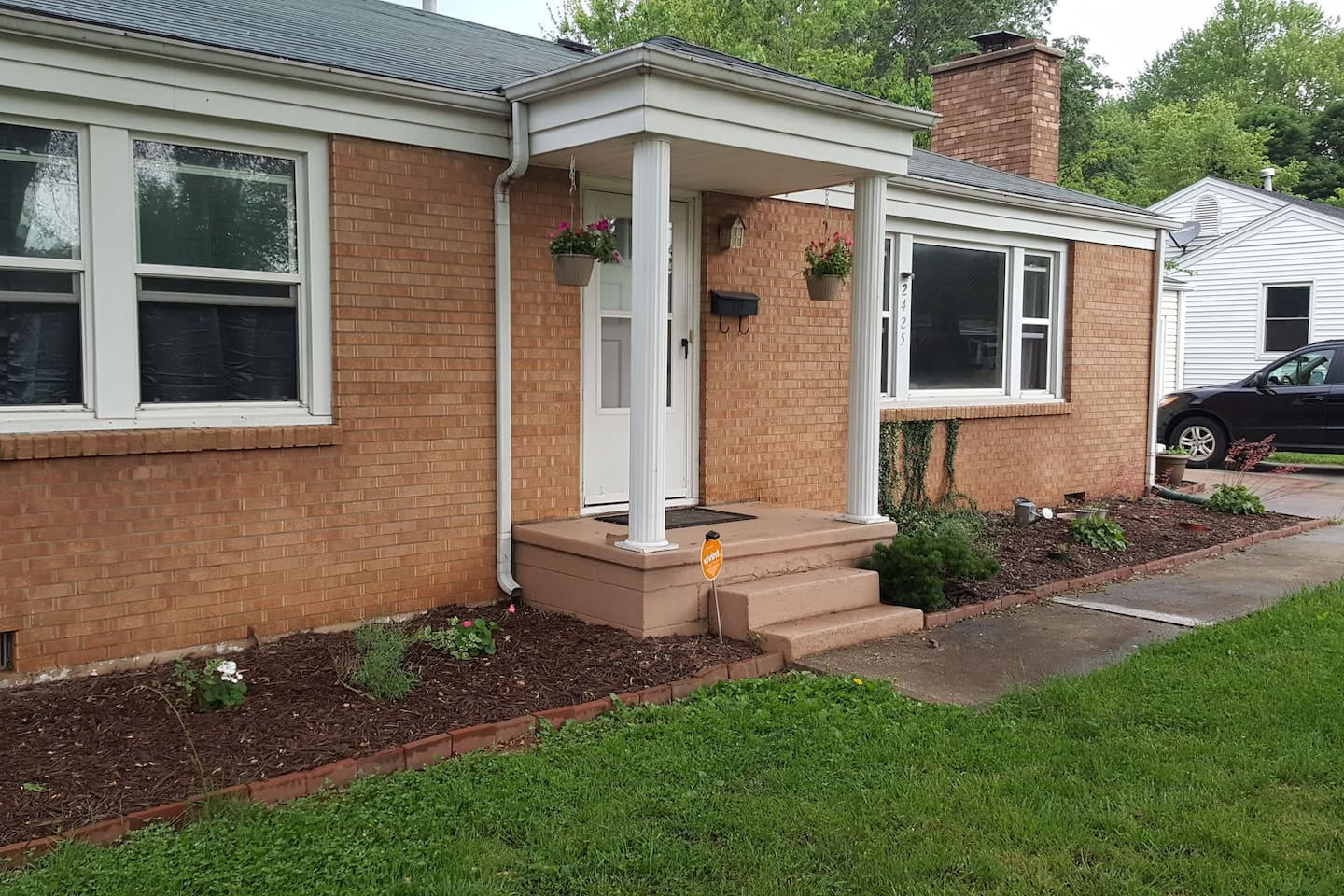 Front of the house, newly planted flowers