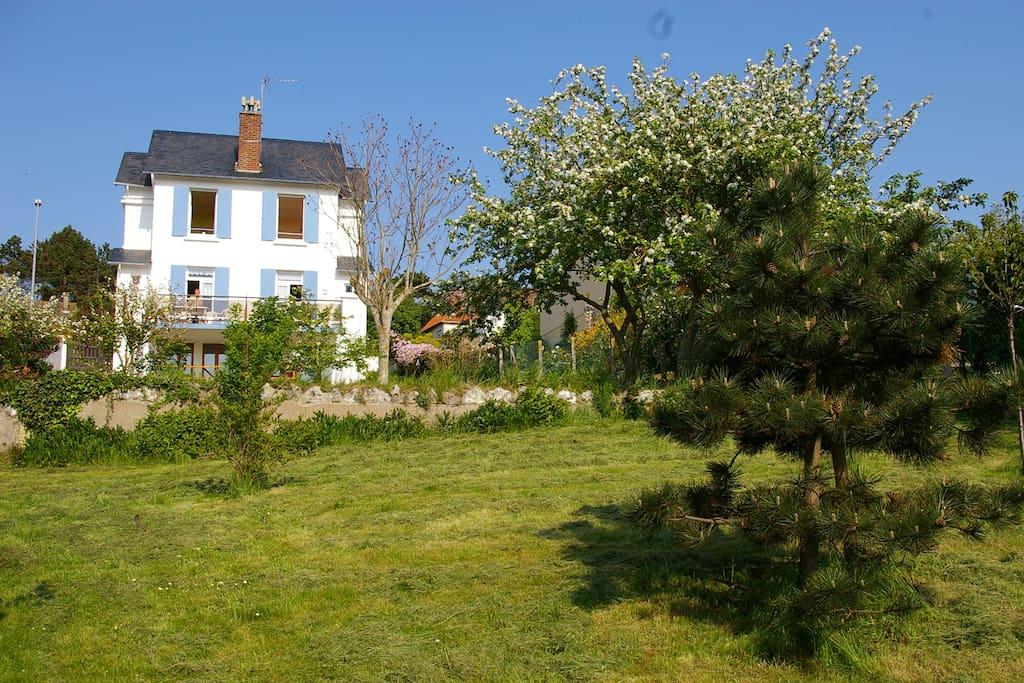 Villa divisée en trois appartements et jardin
