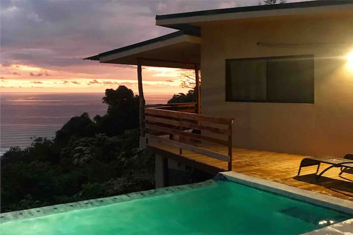Sunset around your Private infinity pool, you won't forget it!
