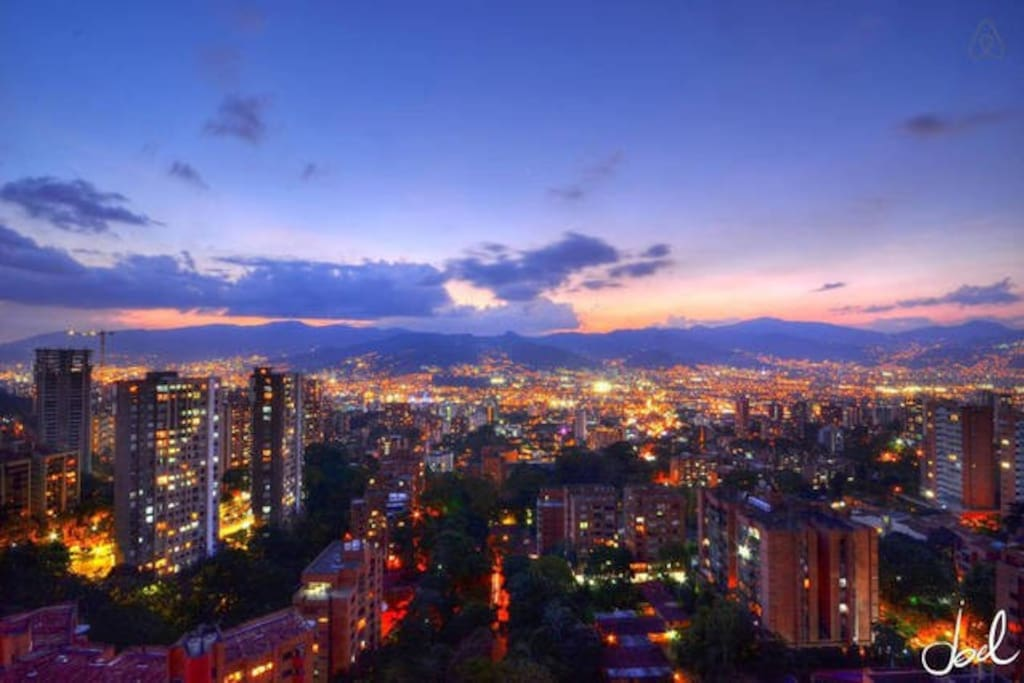 VIEW FROM TERRACE OF MEDELLIN CITY LIGHTS