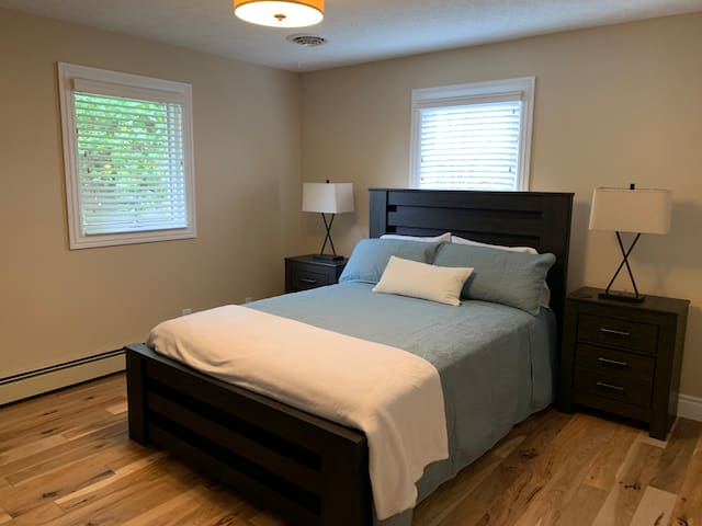 Upstairs master bedroom with queen bed.  Lamps have USB ports for charging your phones