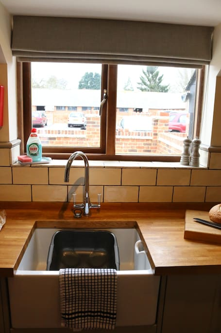 Kitchen overlooking yard