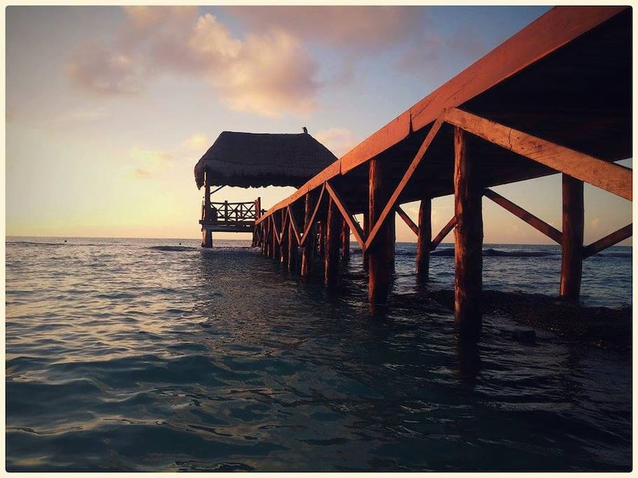 One of the docks at Xcalacoco beach, located just a five-minute walk from our property.