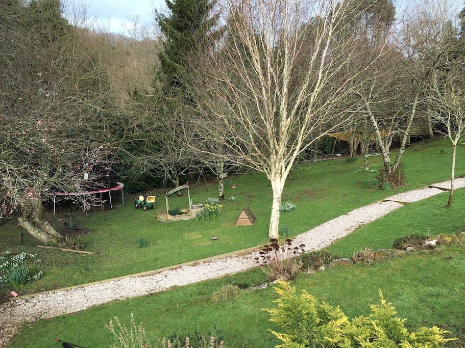 Garden in early spring (enormous trampoline)