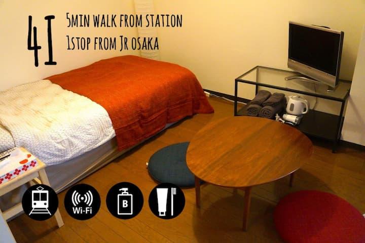 *4I* 1Sta.from JR OSAKA, 5min from sta.【freeWi-Fi】