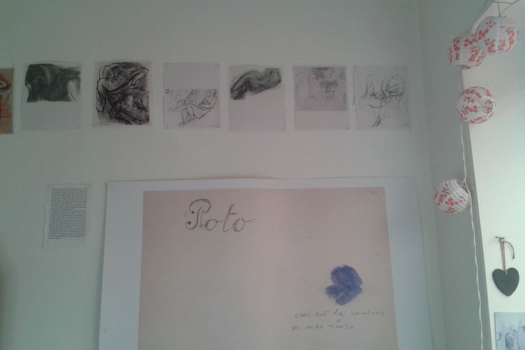 Art on the bedroom walls.