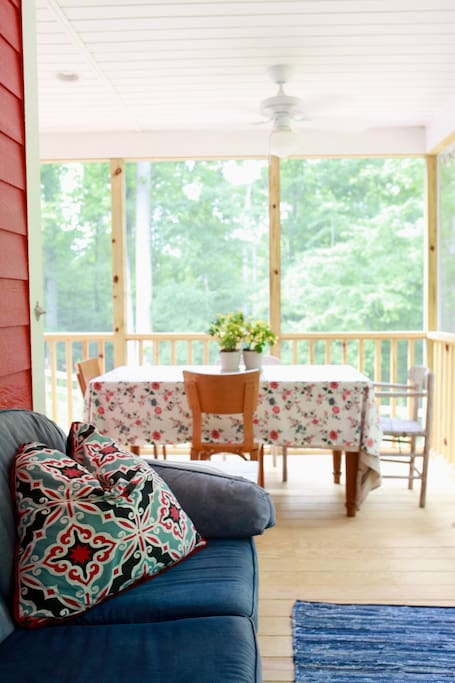 Back porch with table for up to six. On summer nights, count fireflies!
