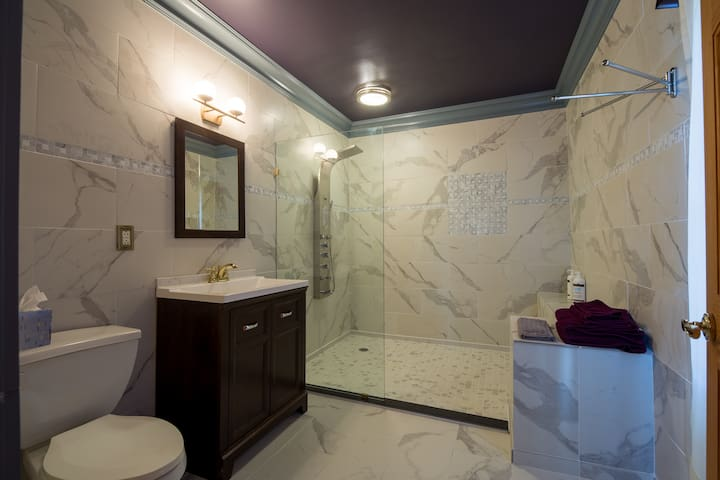 The bath. All new, marble tile. lots of room. We keep the bath at 84 degrees during the winter