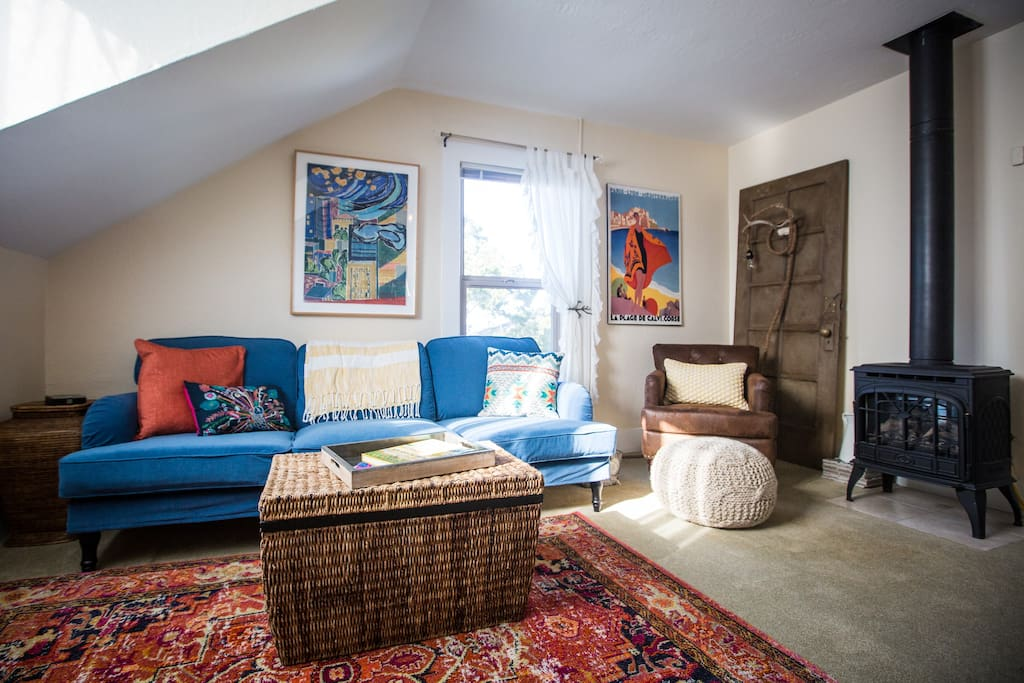 Enter the comfortable living room with plenty of seating for everyone