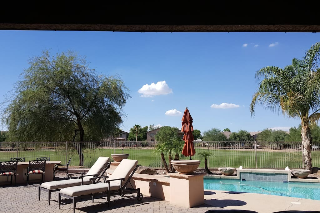 Pool, loungers, outside dining area