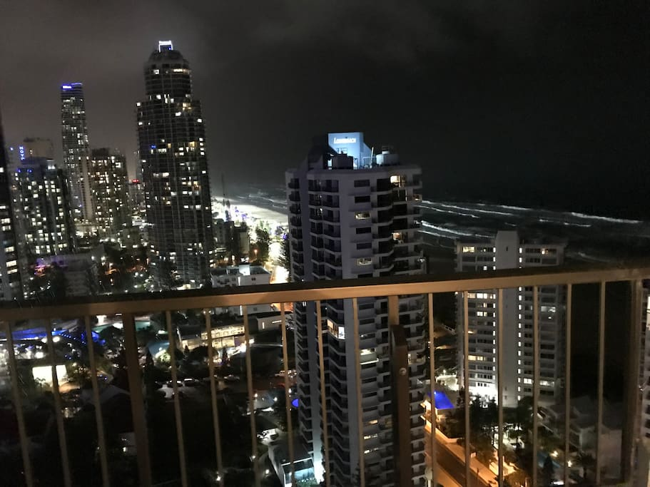 Skyline and beach at night from the balcony...