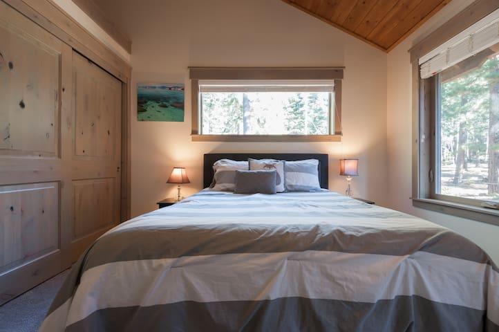 Summer bedroom with queen size bed