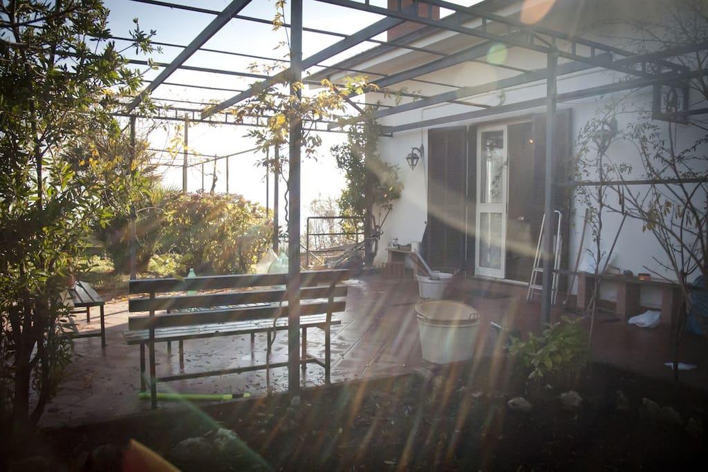 Questo è il patio davanti casa dove è possibile pranzare all'ombra di bellissimi glicini celesti e bianchi, dalla primavera fino a novembre ....il disordine è del giardiniere all'opera!