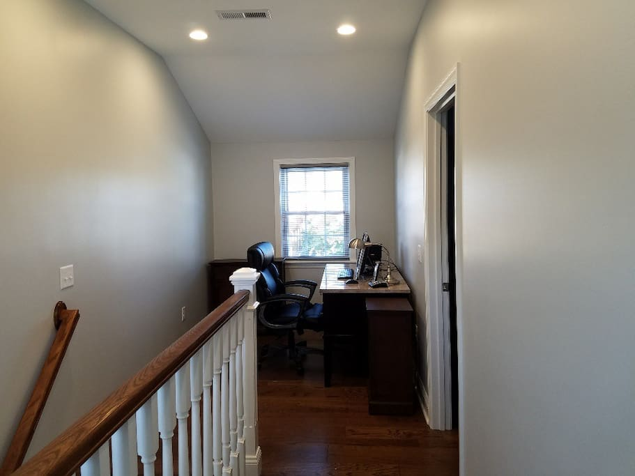 Upstairs hallway and office area