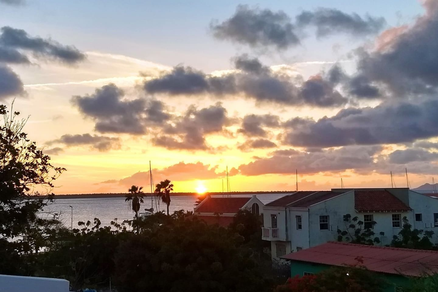 Sunset over the Caribbean Sea and Klein Bonaire from your private roof deck.