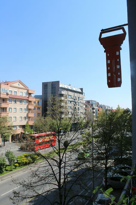 View from the balcony, main biggest street of Skopje