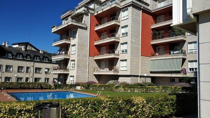 Apartamento acogedor con piscina en Sanxenxo