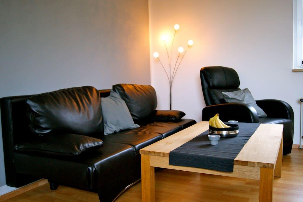Gemütliche Lounge-Ecke mit Schlafsofa und TV-Sessel