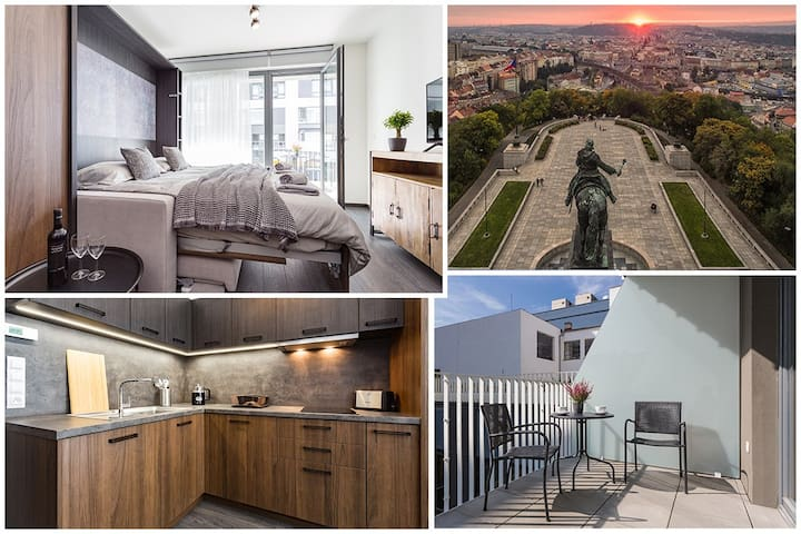 Industrial style apt in Karlin with parking and AC