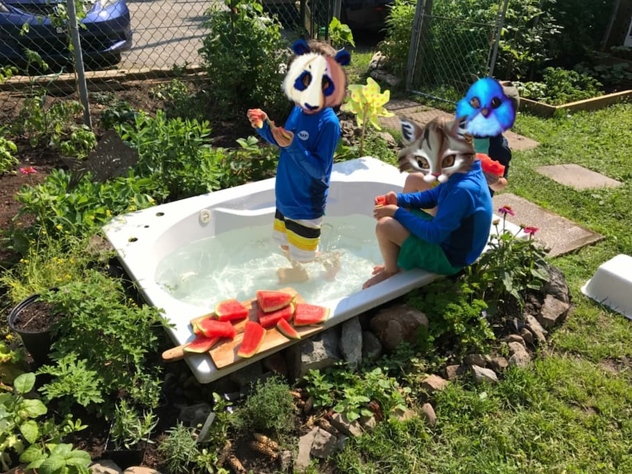 Refreshing Garden and pool for kids or parents.