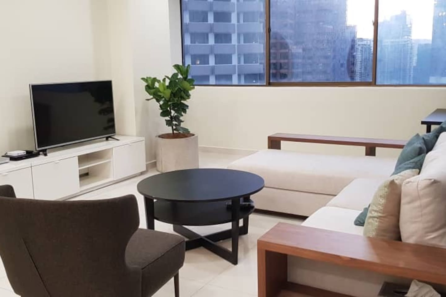 Comfortable lounge area with views of Bukit Bintang