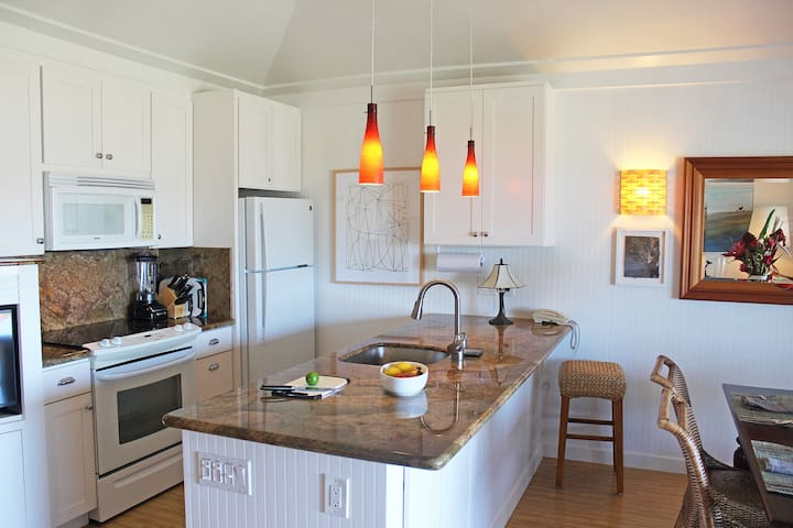The kitchen has granite countertops and is fully furnished