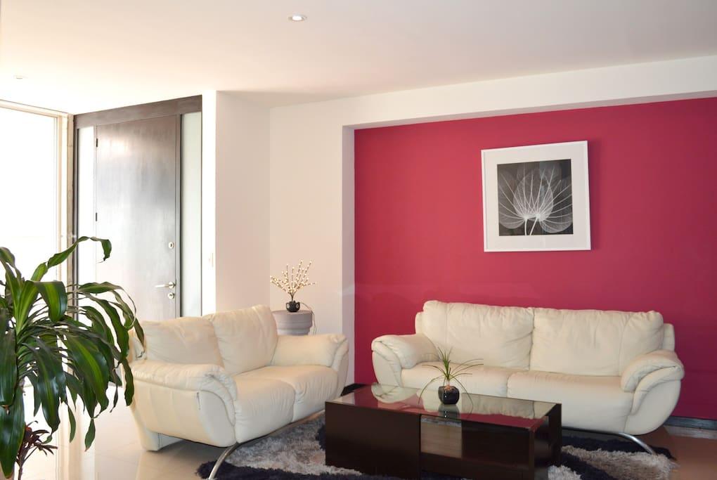 Sala y recibidor amplio, con luz natural y acceso a la terraza.
