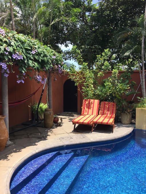 Private Pool in Walled-In Garden - Entry Area to House