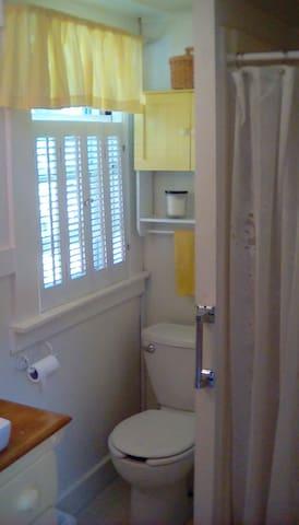 Sunny bathroom with shower