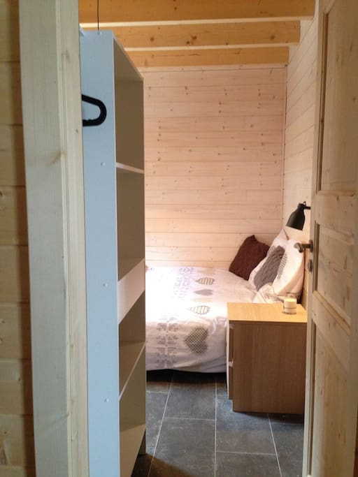 bedroom from the entrance with wardrobe on the left hand side