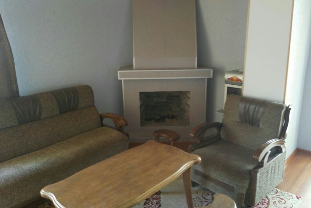 fireplace with redbull  refrigerator for saving different drinks. 1sofa-bed