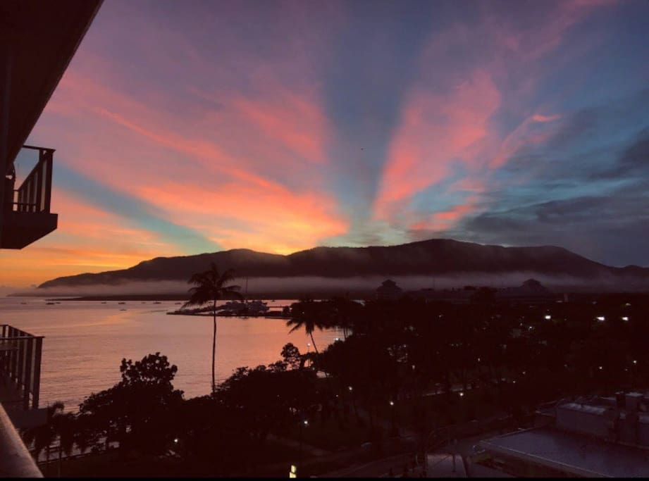 An actual guest photo of a sunrise taken from this apartment. Used with permission.