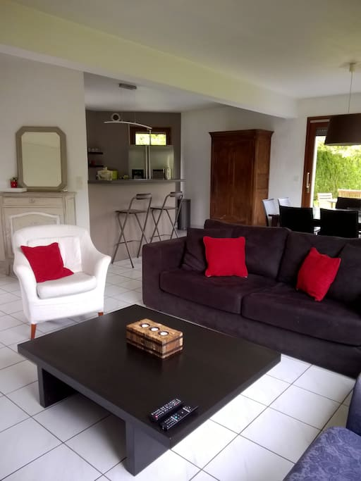 La pièce à vivre très lumineuse, avec le salon, la salle à manger, ouverts sur la cuisine