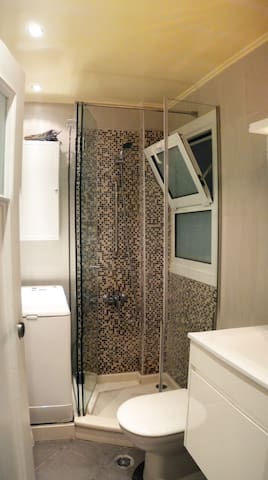 bathroom with the shower