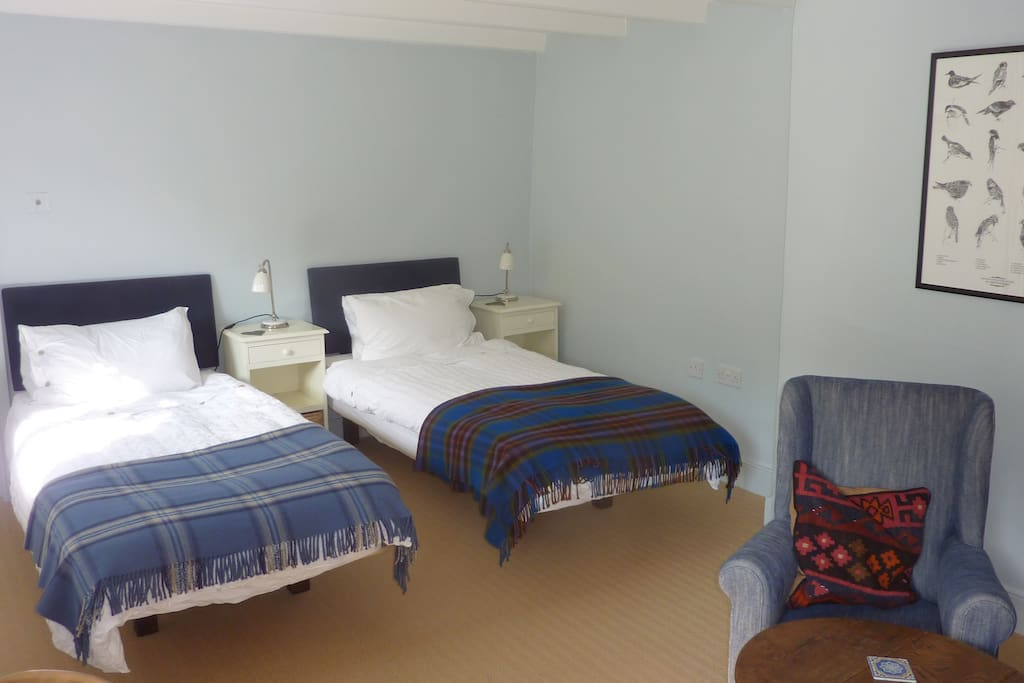 Two single beds in bedroom