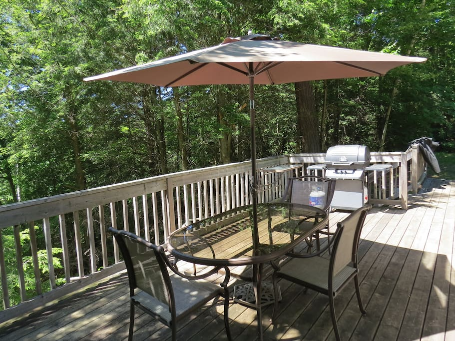 Enjoy a BBQ and beautiful view of the lake from the back deck.