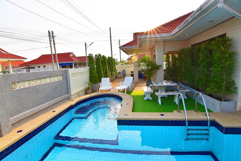 Cool beach house and swimming pool also have jacuzzi children zone