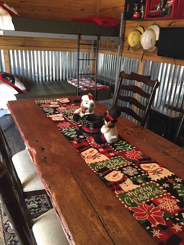 Christmas-ready for Santa with decorations on the table of the Bunker