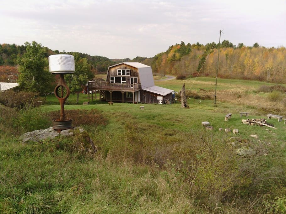 The barn across the street, used for festivals, workshops gallery and studio space for our artists-in-residence