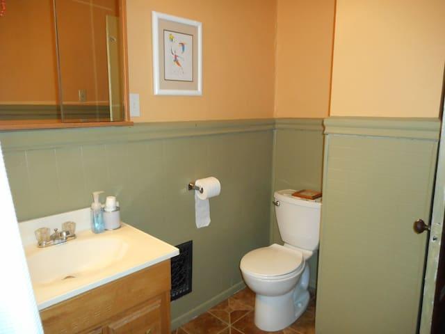 Spacious bathroom includes a ceiling fan.