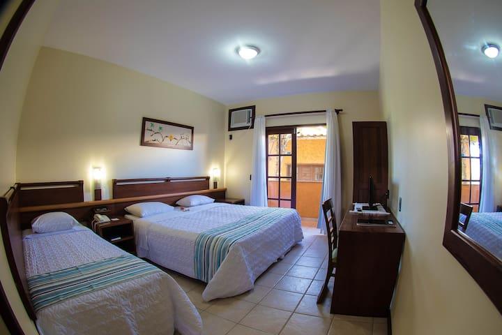 Apartamento com cama de casal e cama de solteiro