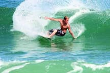Surfing at the Cocoa Beach.