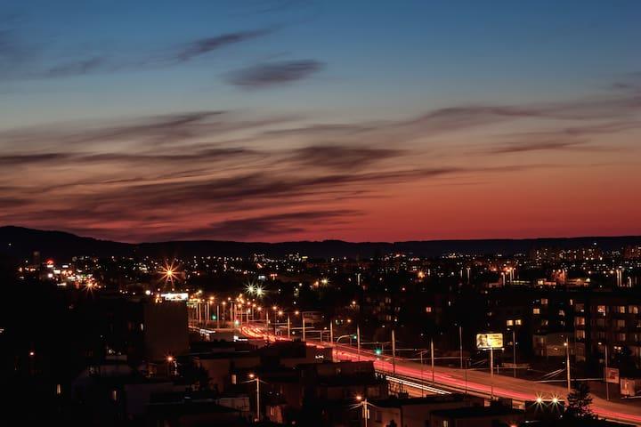 Gdynia - pokój 1/2 os. z pięknym zachodem słońca.