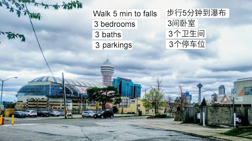 Walk 5 min to falls, 3 rooms, 3 baths, 3 parkings