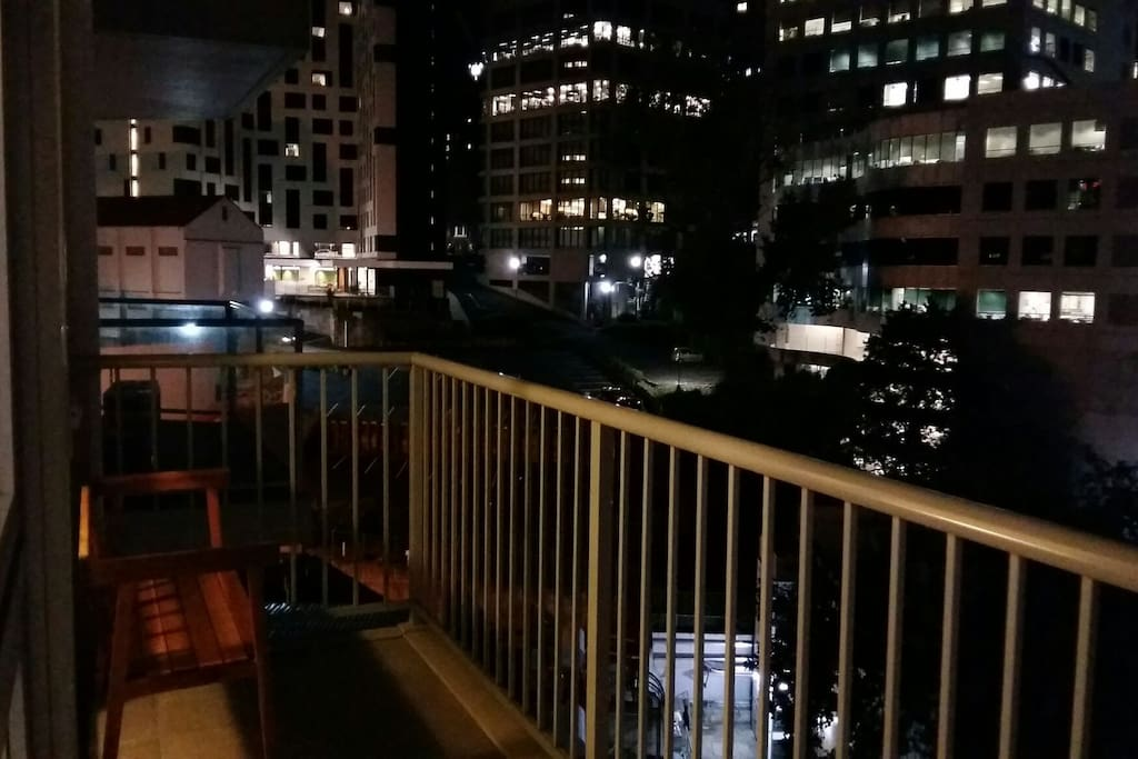 balcony with view at night