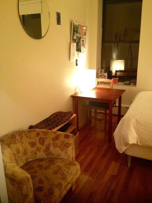 Cozy vintage armchair & desk