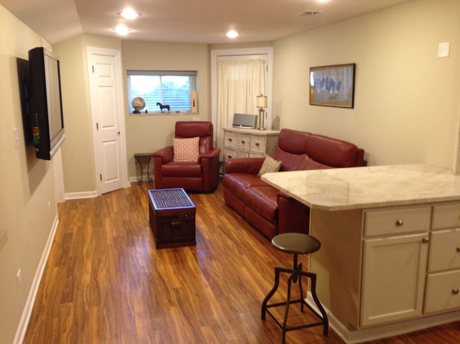 """Huge peninsula and TV area with 55"""" flat screen cable TV."""