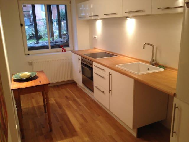 Küche mit kompletter Ausstattung (Herd, Backofen, Mikrowelle, Kühlschrank etc.)