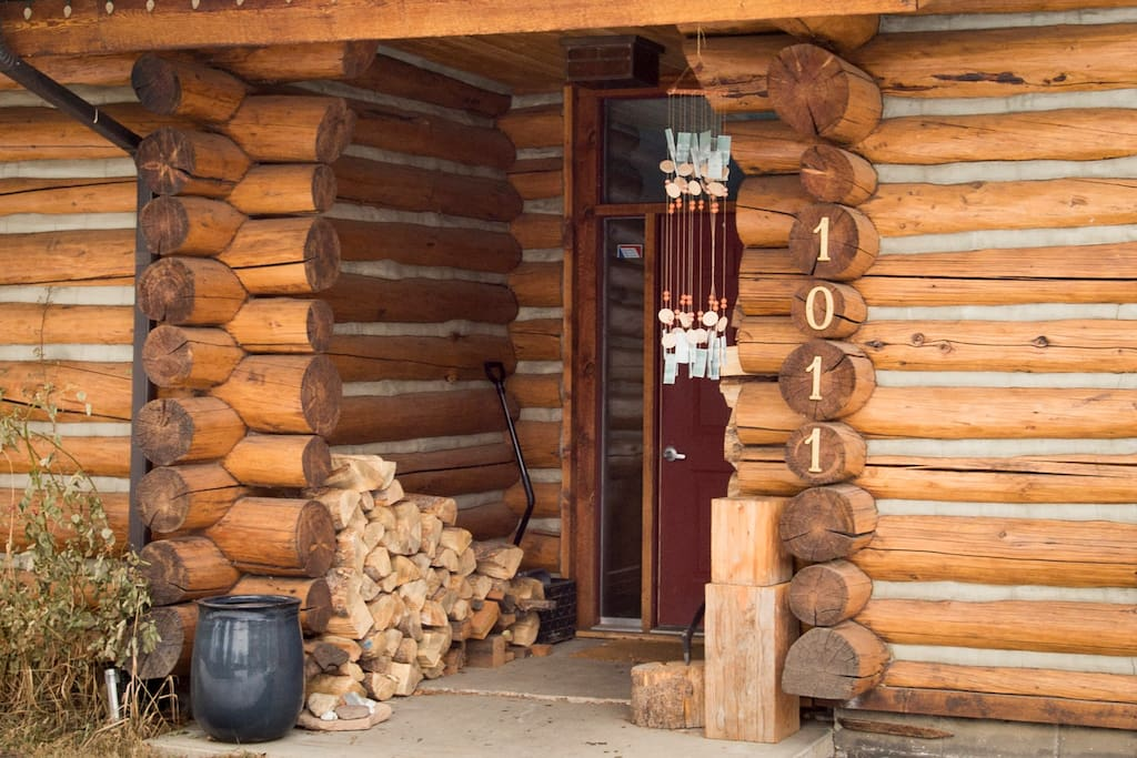 Front door with as much firewood as you can use!